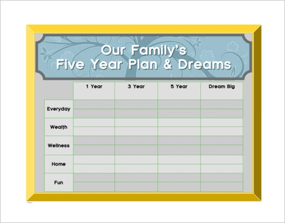 family five year plan free pdf template download