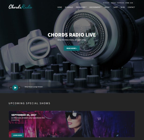 radio station wordpress blog website theme