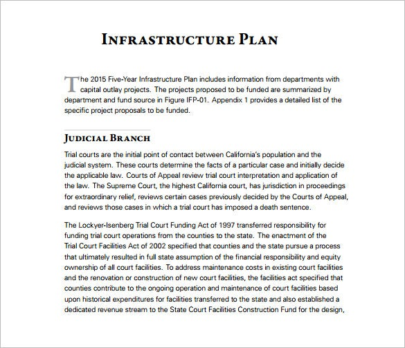 five year infrastructure plan pdf template free download