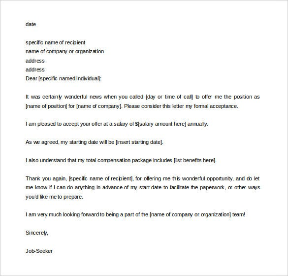 job seeker acceptance letter template word doc download