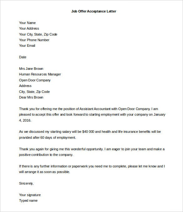 Job Letter Format Sample Job Offer Acceptance Letter Template Word