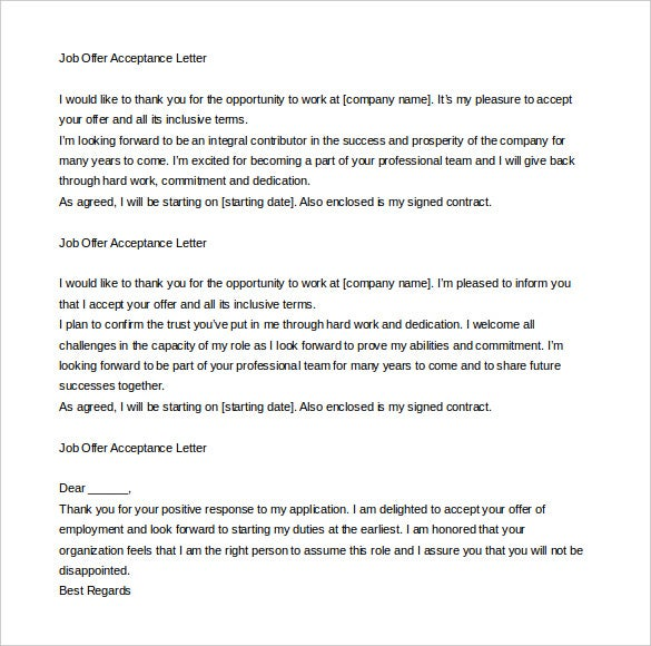 Job Offer Letter Content JobOfferAcceptanceLetterEmail Sample