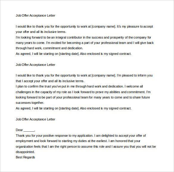 acceptance letter template 05052017