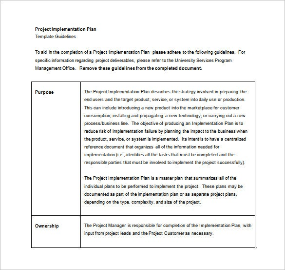 Project Implementation Plan Word Template Free Download