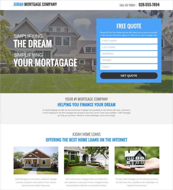 If You Want Your Mortgage Company Website Homepage To Feature A Free Quote  Table, This Theme Here Would Be Great For You. It Starts With A Big Banner  Which ...  Mortgage Templates