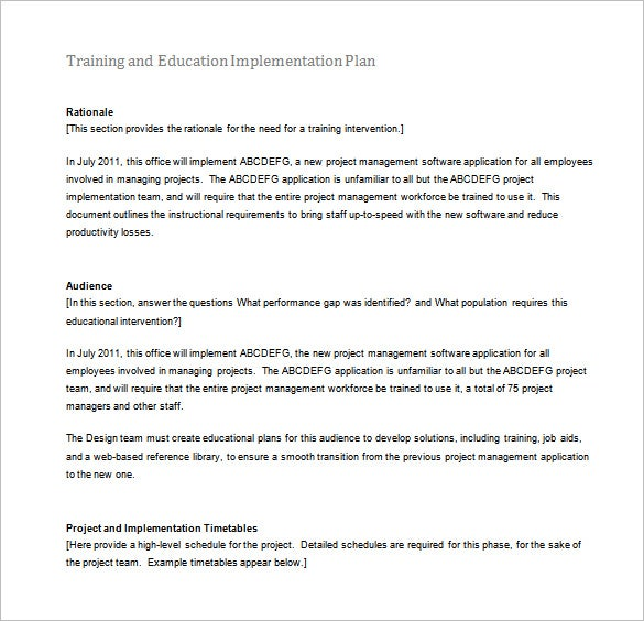training and education implementation plan word free download