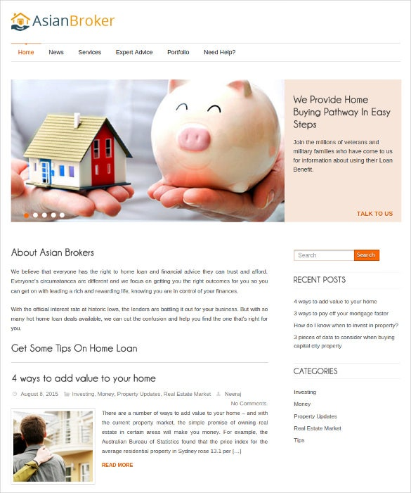 mortgage broker wordpress website theme