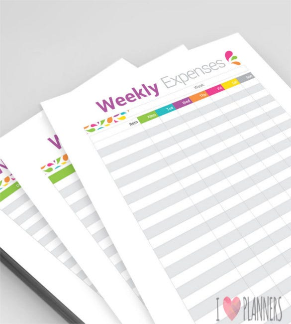 weekly budget and weekly expenses sheet