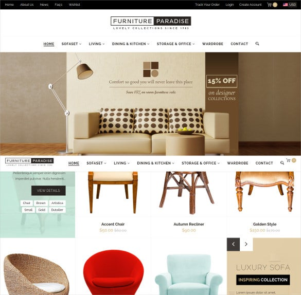 furniture paradise a resposive ecommerce shopify theme
