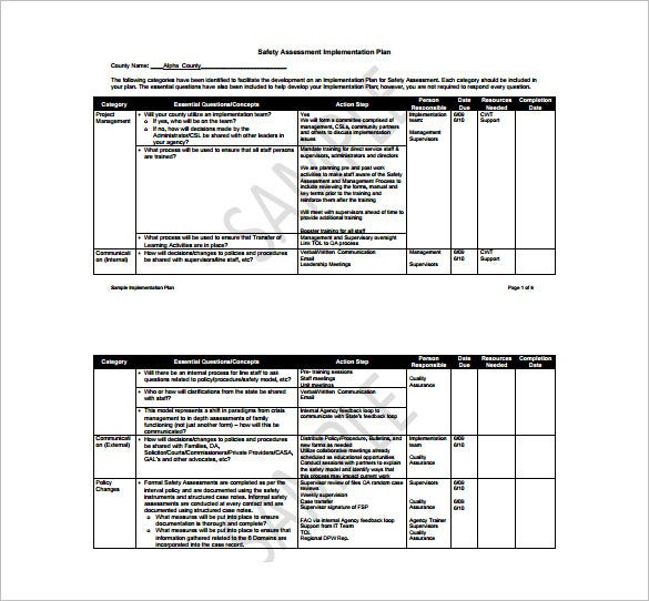 safety assessment implementation plan free pdf template