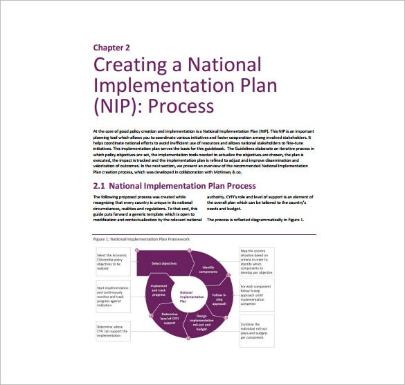 national implementation plan free pdf template download
