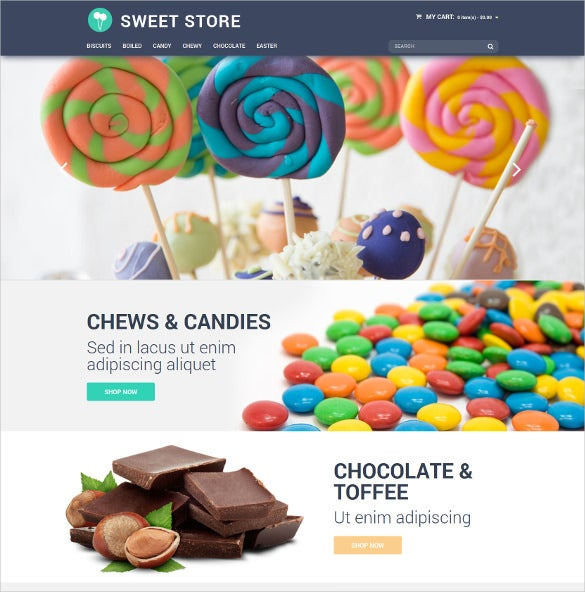 candy store magento website template