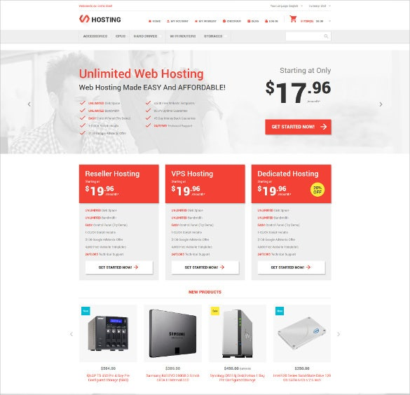 hosting online store magento website template