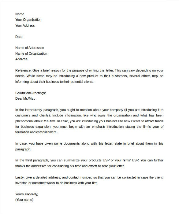 Business letter template sample general free introduction company business introduction letter example altavistaventures Gallery