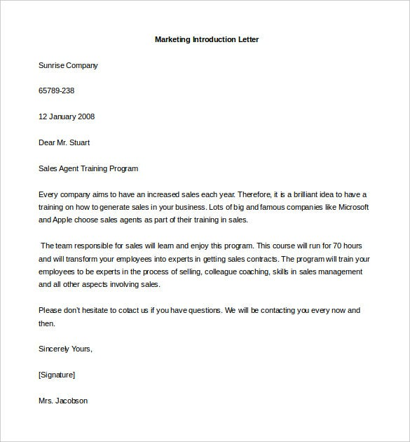 Free Marketing Letter Of Introduction Template Example Download Design Ideas