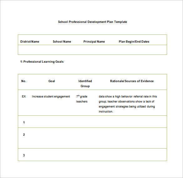 school professional development plan free word download