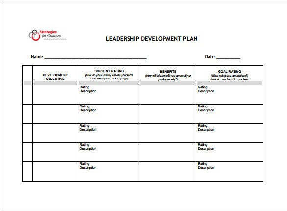 leadership development plan free pdf template download