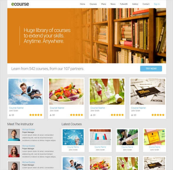 ecourse responsive website html5 template
