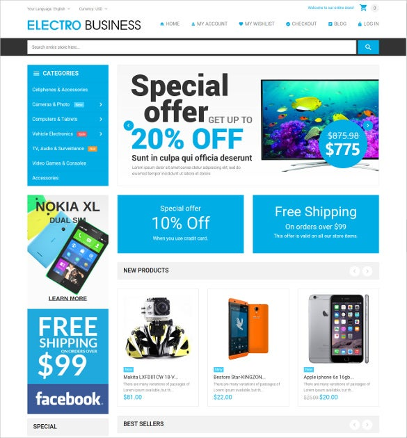 celectronics responsive magento website theme