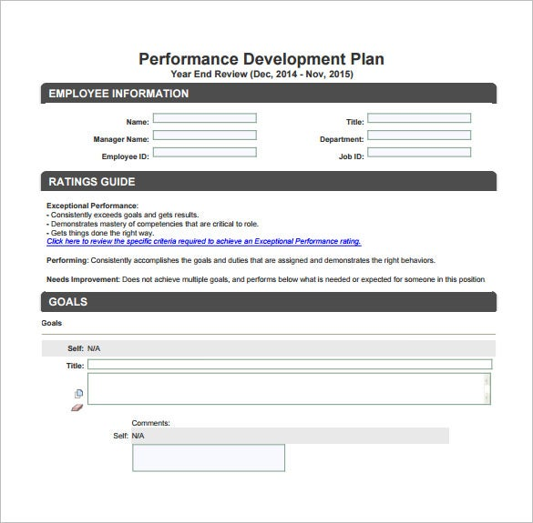 performance development plan free pdf template download