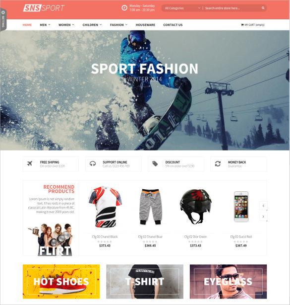 sport fashion magento website template