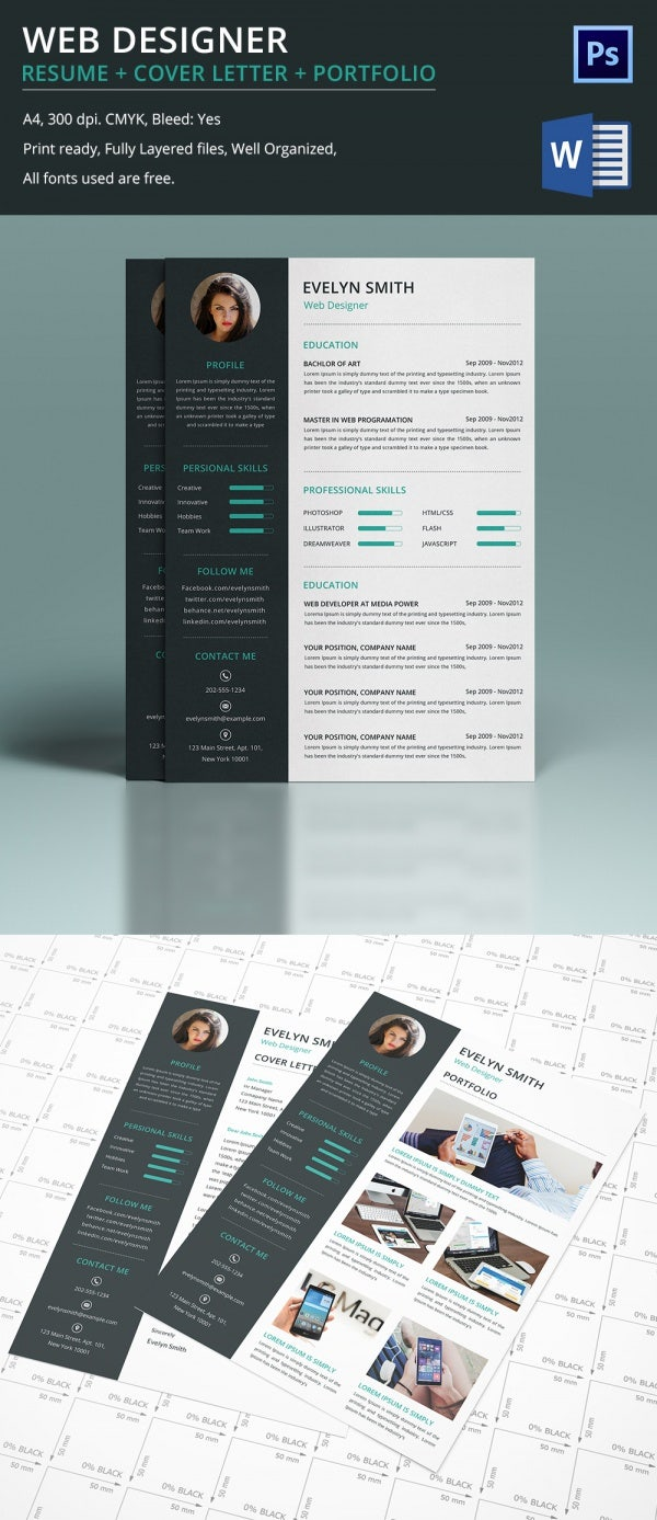 web designer resume cover letter portfolio template for fresher experienced - Web Designer Resume