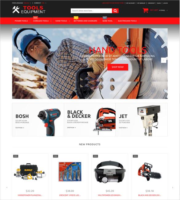 tools equipment responsive magento website theme