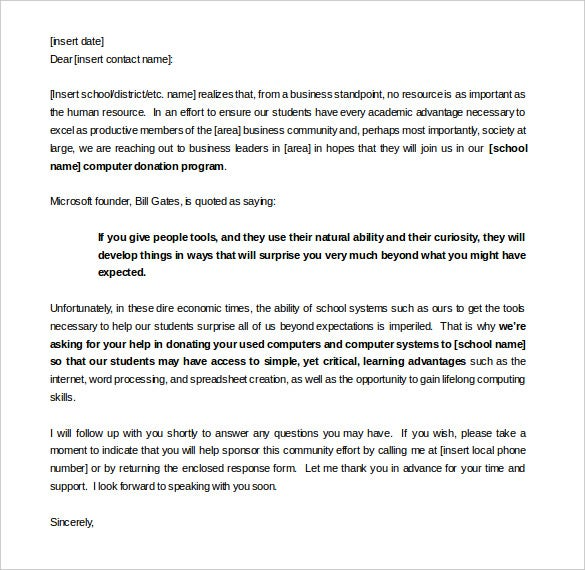 Sample Sponsorship Letter For Donations Template