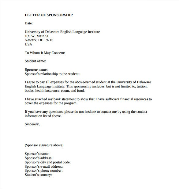 Great Sponsorship Letter Template For Education Download Printable On How To Write A Sponsorship Letter Template