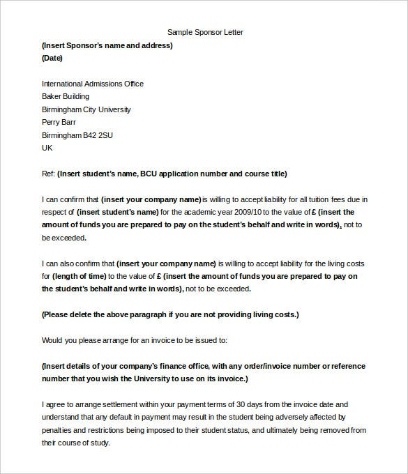 Awesome Sample Company Sponsorship Letter For Student