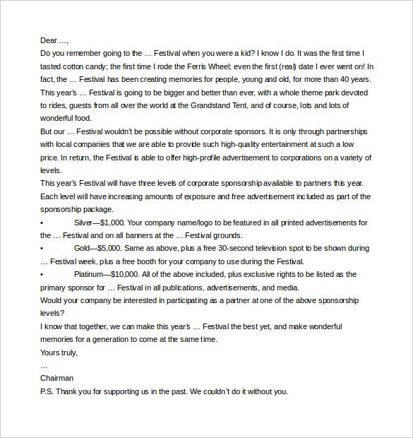 10 Sponsorship Letter Templates Free Sample Example Format – How to Write a Sponsorship Letter Template