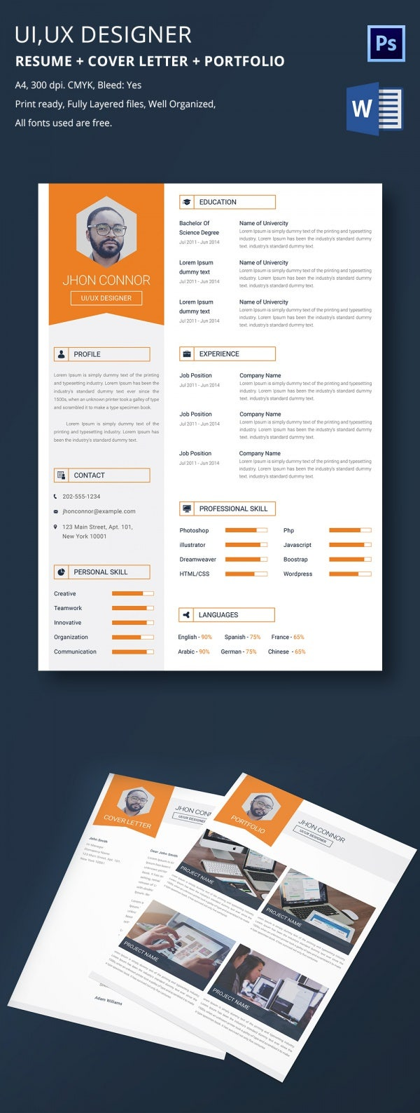 graphic designer resume cover letter portfolio for a smart ui ux designer resume awaits you here layered in a state of the art theme throughout it starts your photo at top left followed by