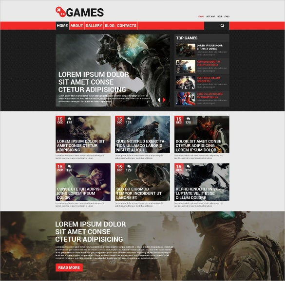 game portal responsive drupal website template