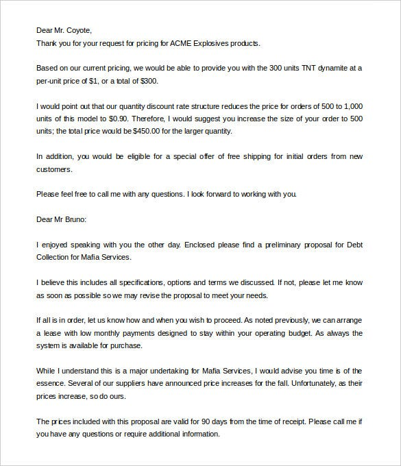 8 Proposal Letter Templates Free Sample Example Format – Sample Business Proposal Letters