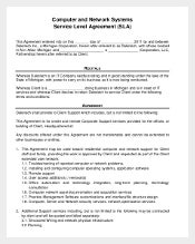 Computer and Network Systems Service Level Agreement