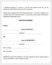 Sample Party Separtion Agreement Template