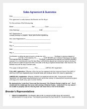 Sample Sales Agreement & Guarantee