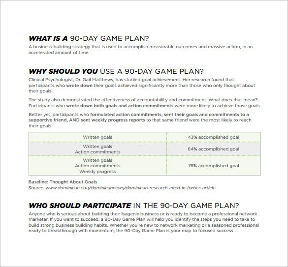 90 day game plan free pdf template download