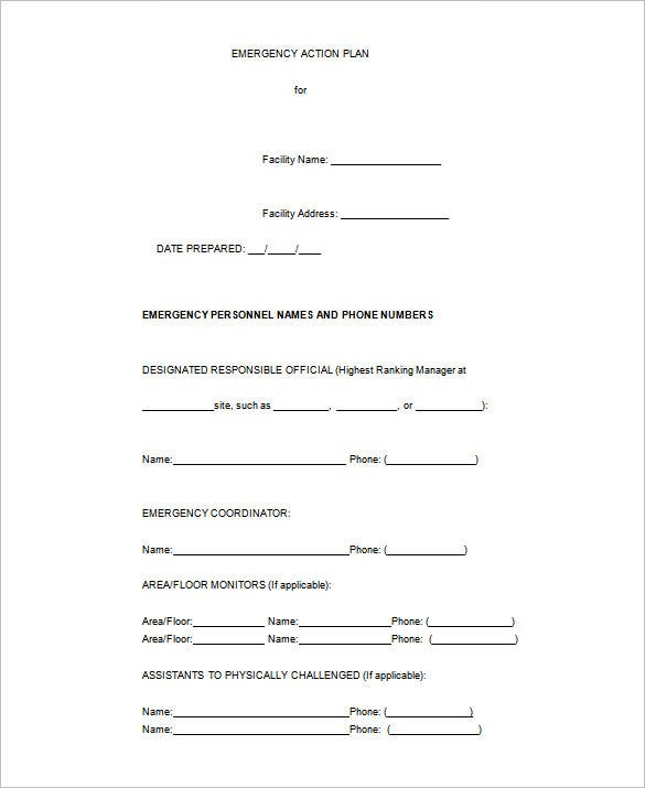 emergency action plan word template free download