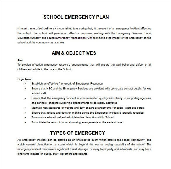 schools emergency plan free word template download