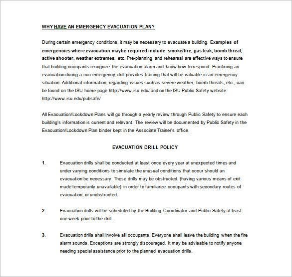 emergency evacuation plan word template free download