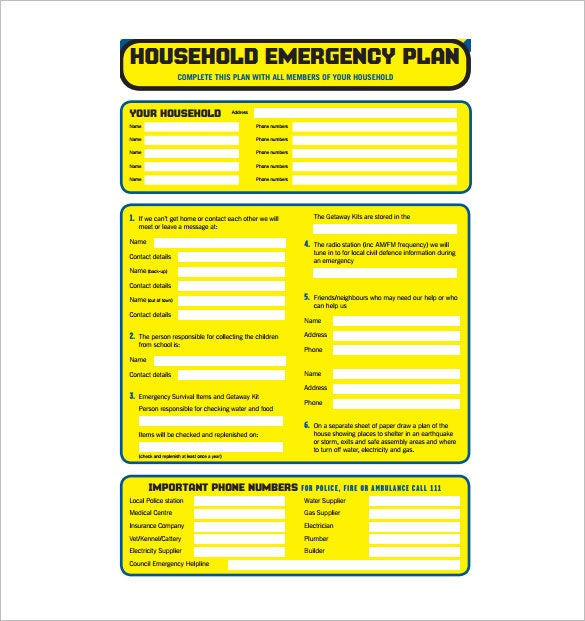 Household-Emergency-Plan-PDF-Free-Download Sample Home Evacuation Plan on examples of emergency plans, sample design, sample communication plans, sample disaster plans, sample action plans, sample development plans, sample infection control plans, sample software, sample education plans, sample emergency operations plans, sample training plans, sample building plans, sample documentation, sample housing plans, sample war plans, sample fire, sample food plans, sample safety plans, sample treatment plans, sample construction plans,