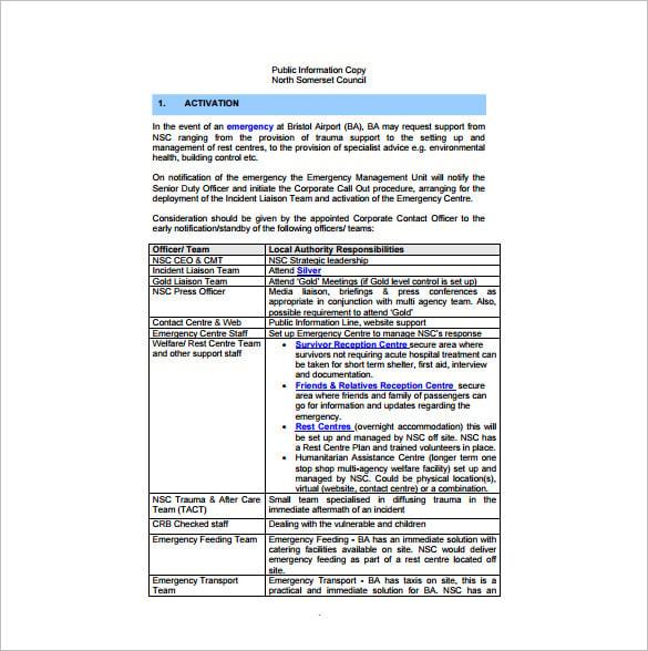 7 emergency plan templates pdf doc free premium templates
