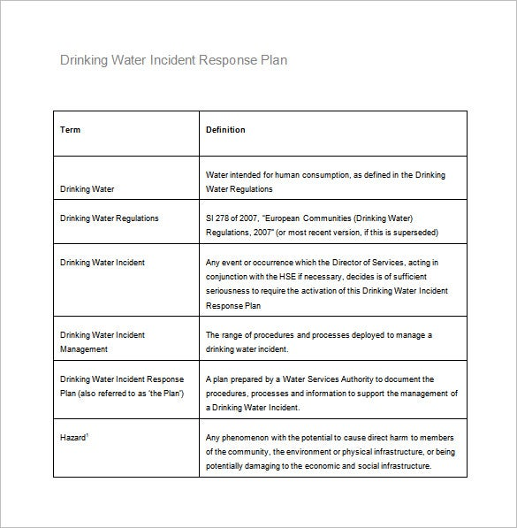 drinking water incident response plan word free download