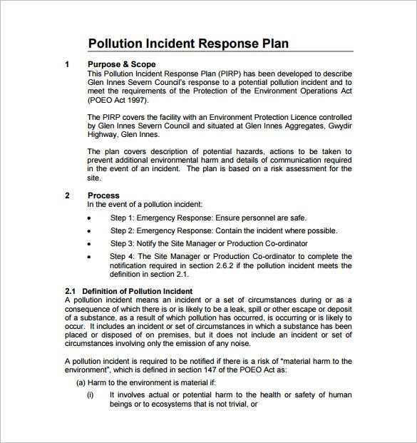 pollution incident response management plan pdf free download