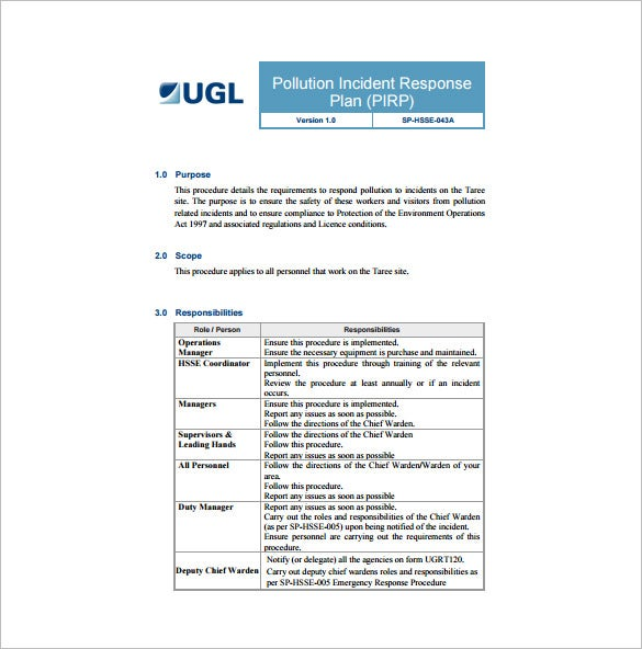pollution incident response plan free pdf template