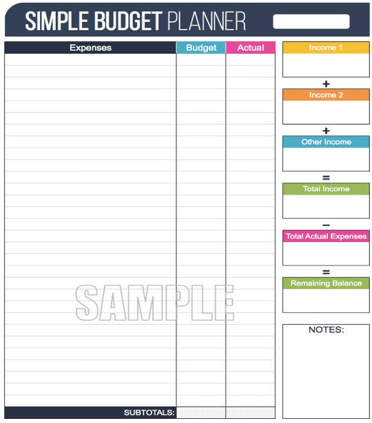 example of budget sheet