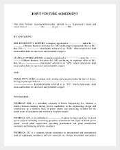 Sample Join Venture Agreement Template