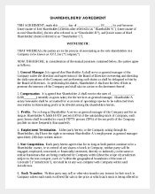 Example Shareholder Agreement Template