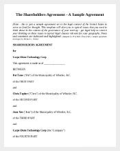 Free Sample Shareholder Agreement Template